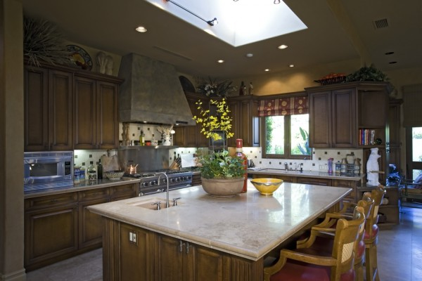A skylight installed in a home kitchen