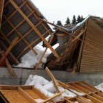 A roof collapses from snow