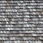 A roof of cedar shake shingles