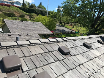 Close up of roof with vents