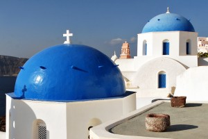 Final roof design is the Blue Domed Roof of White Church in Santorini, Greece